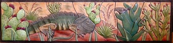 Iguana Tile Mural